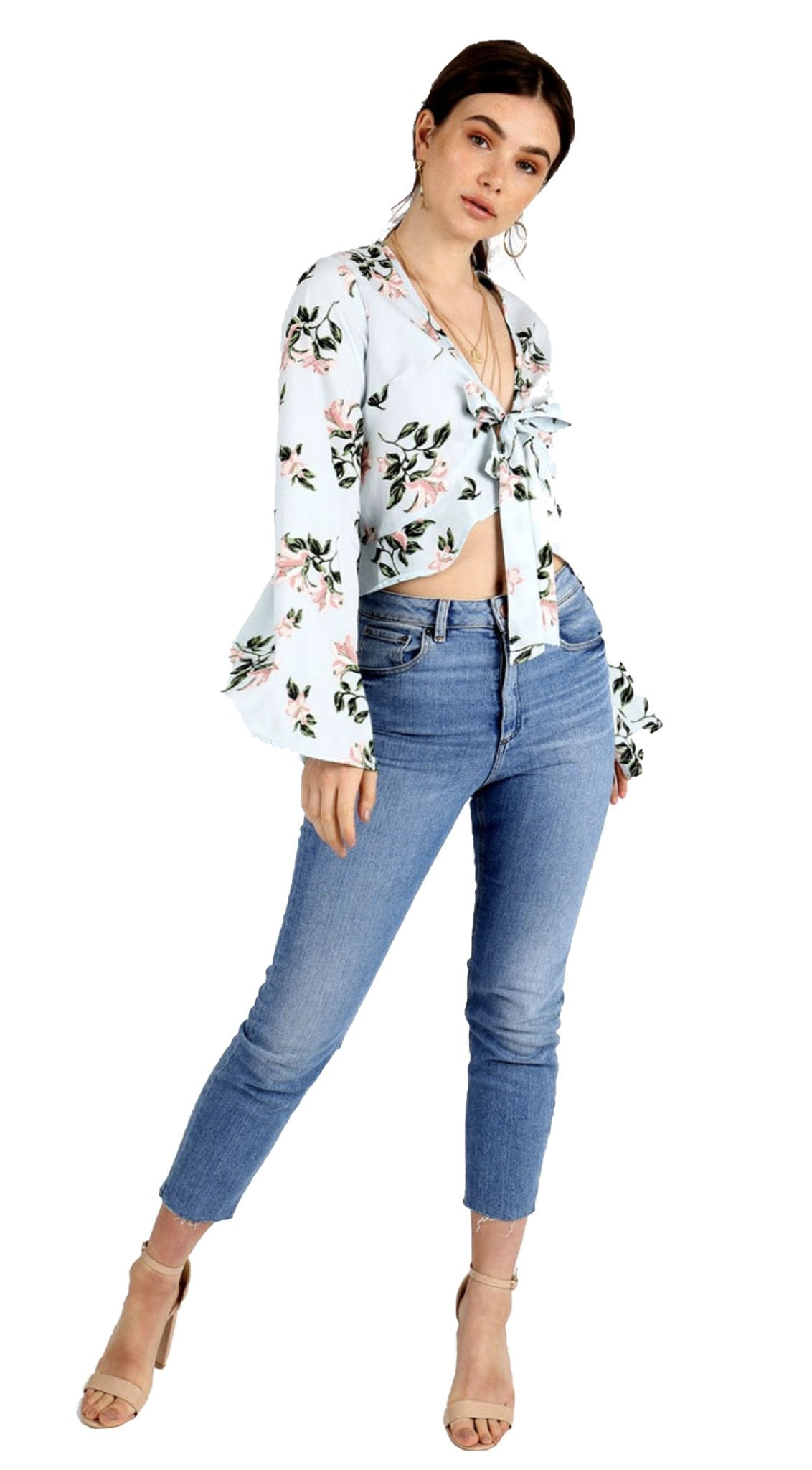 Women/'s Blue Floral Tie Up Front Fluted Long Sleeve Frill Crop Top Blouse