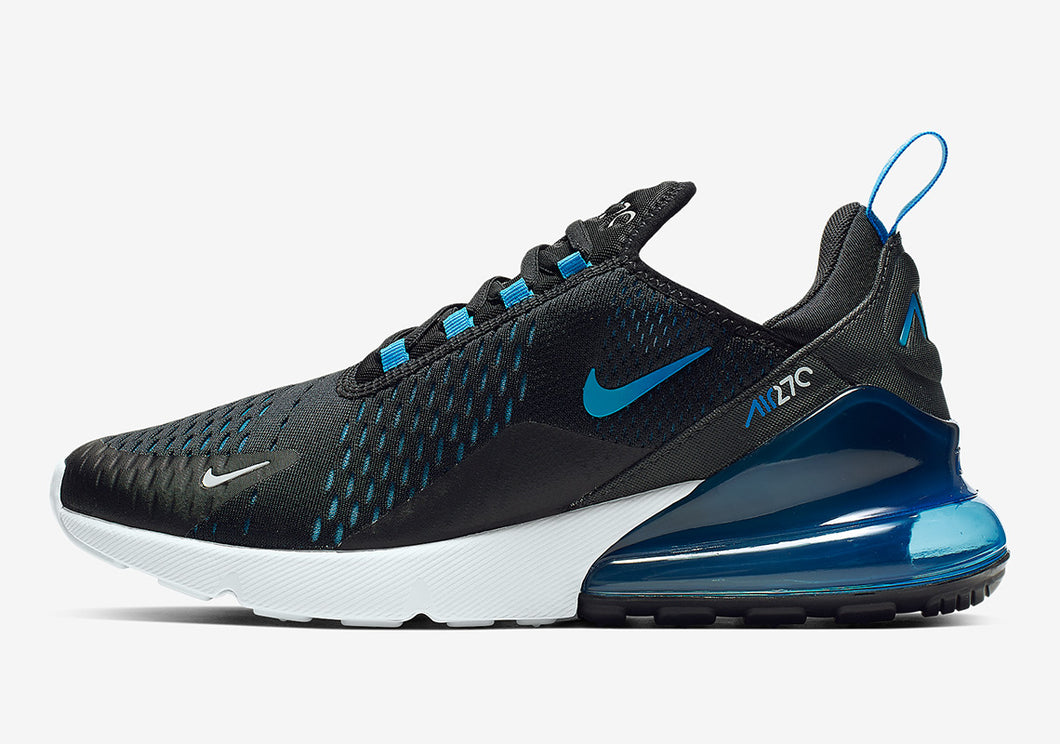 NIKE AIR MAX 270 BLACK/ PHOTO BLUE-BLUE FURY-PURE PLATINUM
