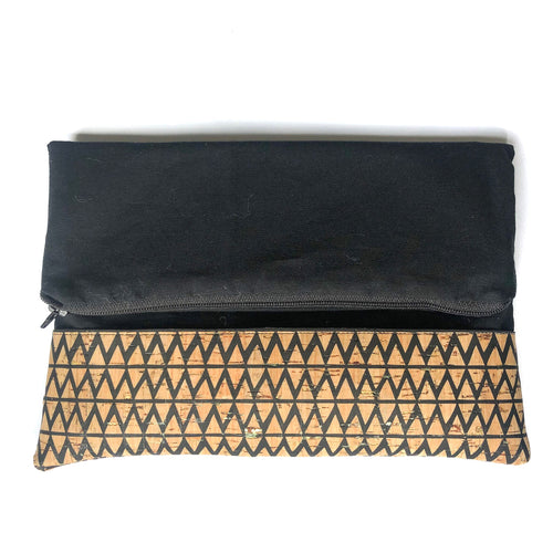 Black Zig Zag Foldover Cork Clutch
