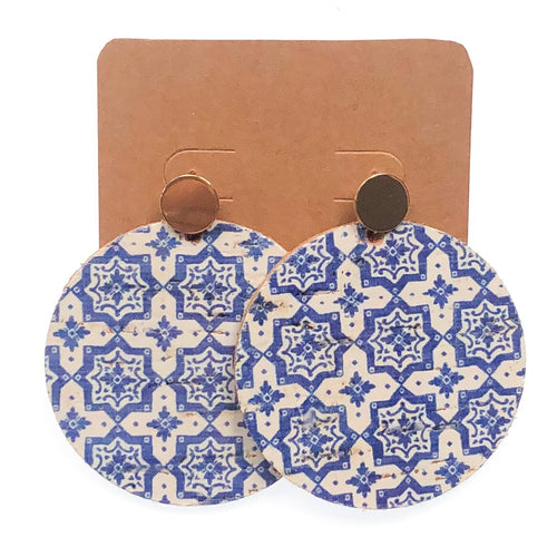 Blue and White Cork Disc Earrings