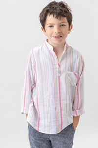Joseph shirt Linen- Red stripes