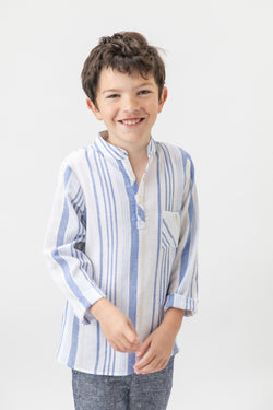 Joseph shirt Linen- Beige Blue stripes