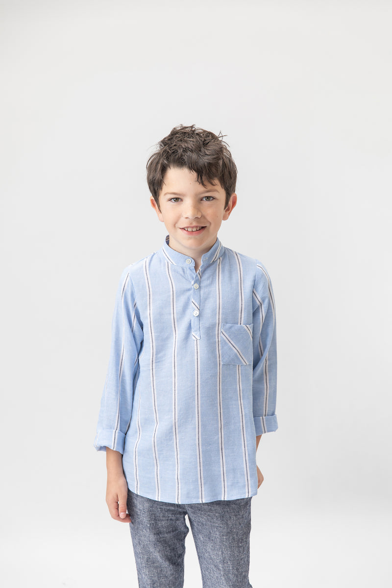 Joseph shirt Linen- Blue stripes