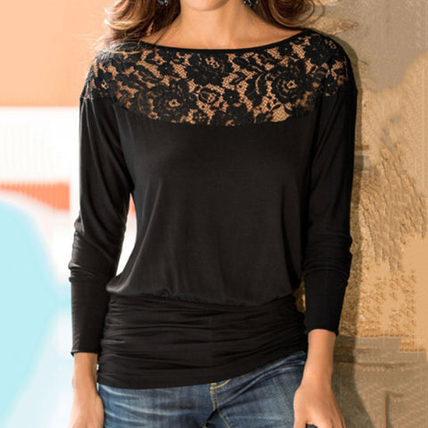 Round Neck  Patchwork Plain  Batwing Sleeve T-Shirts