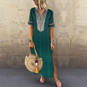 CLOTHINGSHE Casual Split V Neck Print Loose Maxi Dress