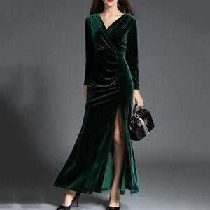 Elegant Split Velvet Evening Dress