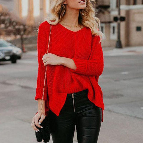 Autumn V-Neck Red Long Sleeve Knit Sweater