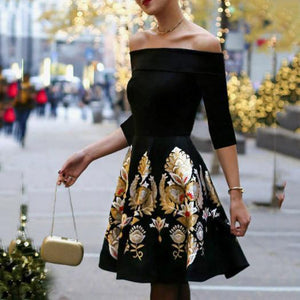Sexy Floral Off Shoulder Long Sleeve Skater Dress