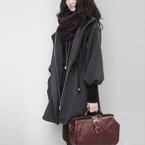 Hooded  Drawstring  Plain  Batwing Sleeve Coat