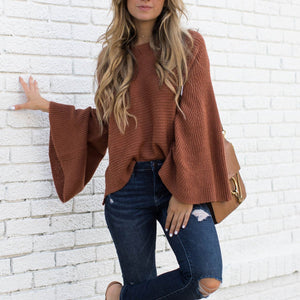 Fashion Plain Long Sleeve Sweaters