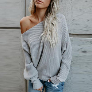 One Shoulder  Plain  Batwing Sleeve Loose Sweaters