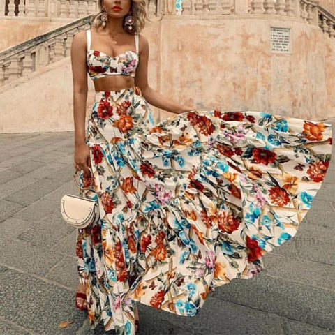 Sexy Off Shoulder Midriff-Baring Floral Printed Beach Maxi Dress