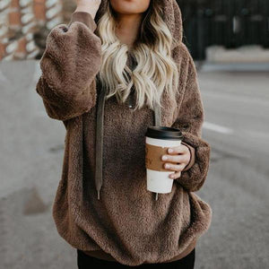 Fashion Plain Fur Long Sleeve Sweater