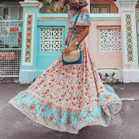 Fashion Off Shoulder Large Swing Printed Vacation Bohemian Dress