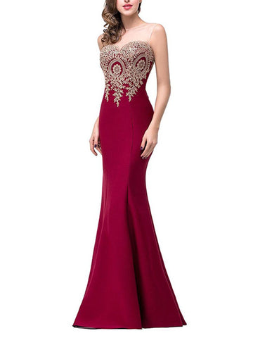 Round Neck  Decorative Lace Patchwork  Plain  Polyester Evening Dress