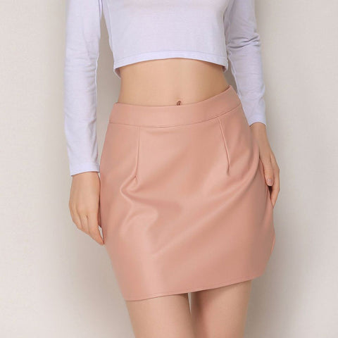 Solid-Color Sexy PU Short Skirt