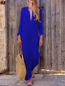 CLOTHINGSHE Casual Split V Neck  Long Sleeve Plain Maxi Dress