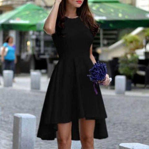 Round Collar Sleeveless Pure Color Irregular Mini Skater Dress