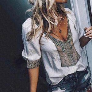 Casual Deep V Neck  Patchwork Print  Blouse