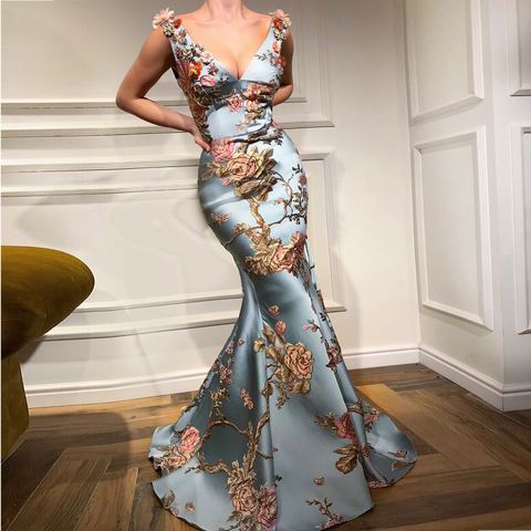 Sexy Deep V Collar Embroidery Floral Printed Fishtail Maxi Dress