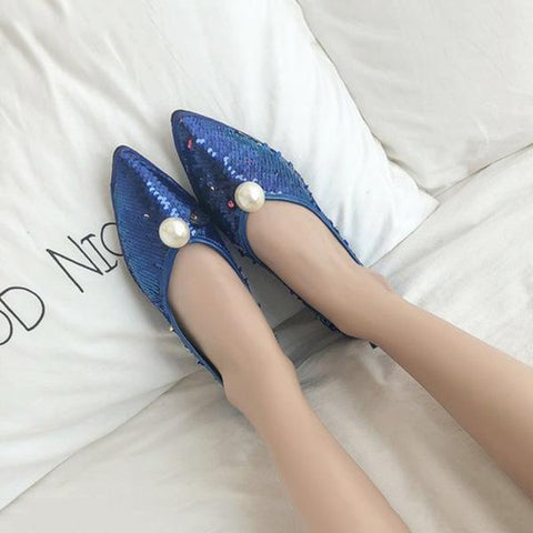 New Comfortable Flat-Bottomed Pointed Sequin Pearl Women's Shoes