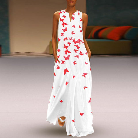 CLOTHINGSHE Summer Casual Butterfly Print Sleeveless Maxi Dress With Pockets