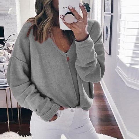 V-Neck Solid Color Sweater Female