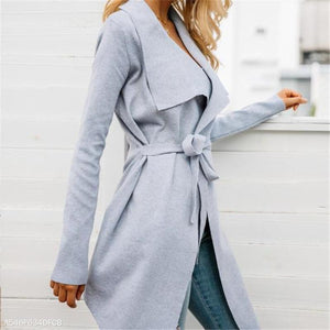 Fashion Youth Business Soft Loose Plain Long Sleeve Lace-Up Coat Cardigan