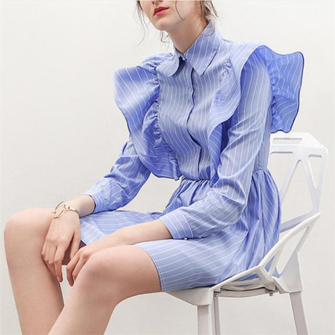 Fashion Nifty Casual Elegant V Collar Ruffled Long Sleeve Skater Dress