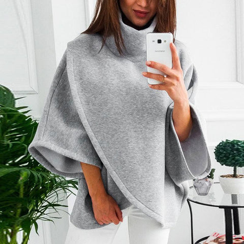 High Collar Bats Sleeves Maternity Sweater