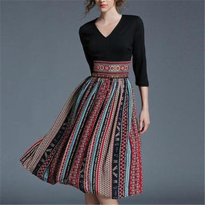 Sexy V Collar Slim Split Joint Skater Dress