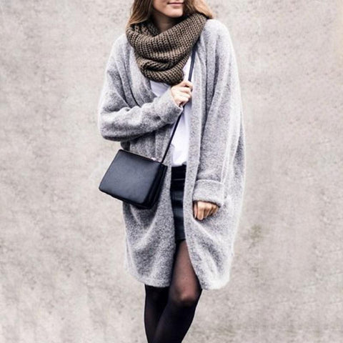 Casual Loose Plain Knit Sweater Long Coat
