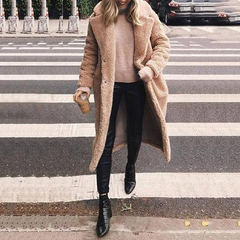 Woolen Long Lapels Solid Color   Coat