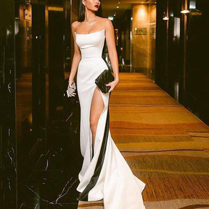 Black And White Stitching Tube Top Evening Dress