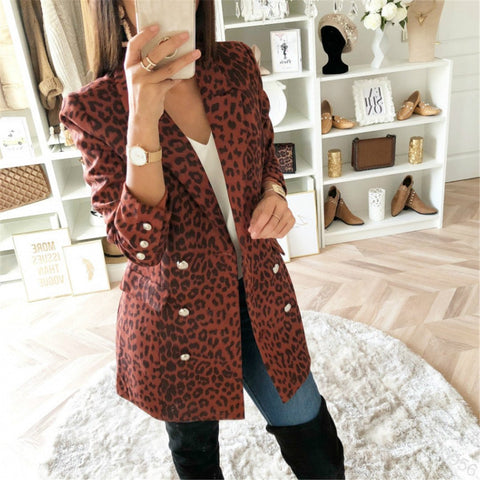 Sexy Leopard Long-Sleeved Casual Coat