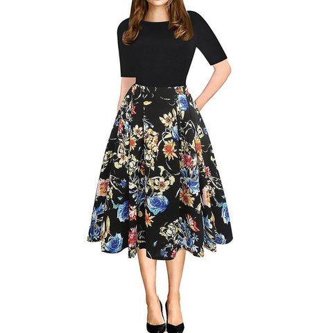 Fashion Round Collar Split Joint Floral Printed Skater Dress