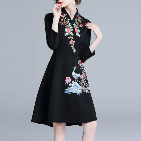 Women's Elegant Folk-Custom Long Sleeve V-Neck  Embroidery Skater Dress