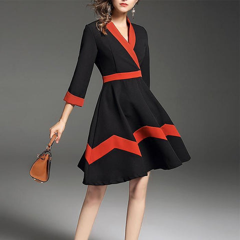 Contrast Color V-Neck Elegant Work Women's Skater Dress