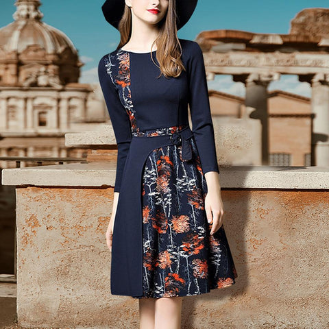 Autumn Elegant Floral Printed Split Joint Slim Skater Dress