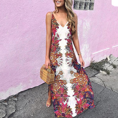 Fashion Sling Bohemian Print Vacation Dress