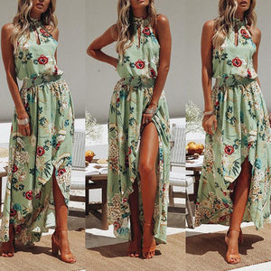 Sexy Off The Shoulder Printed Maxi Dress