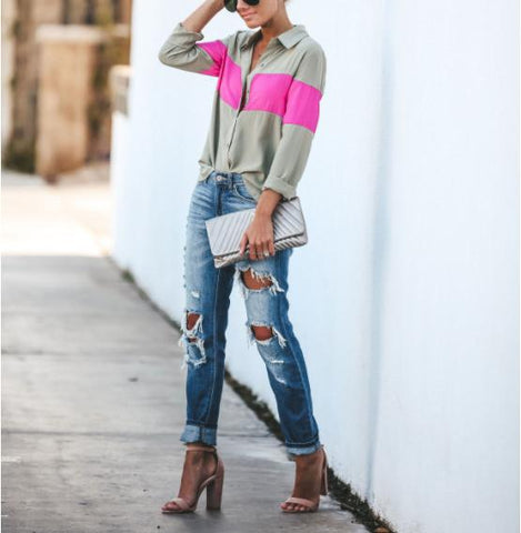 Casual Color Collision   Stitching Long Sleeve Shirt Blouse