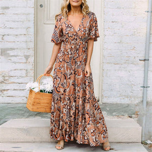 Bohemia Style Floral Printed V Collar Vacation Dress