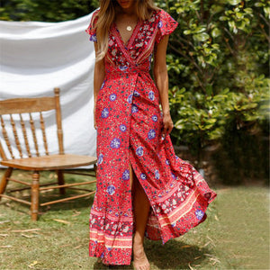 Bohemia Style Printed Loose Slit Vacation Dress