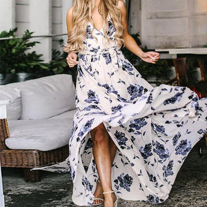 Bohemian Ink Printed Colour Sleeveless Maxi Dresses