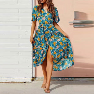 2019 NEW V Collar Floral Printed Asymmetrical Vacation Dress
