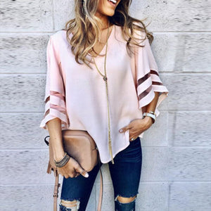 Loose Casual Trumpet Sleeve V-Neck Blouse