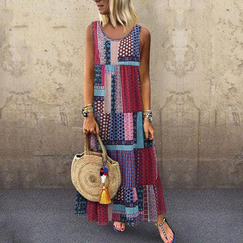 Multi-color Splicing Plus Size Round Neck Sleeveless Loose Casual Dress