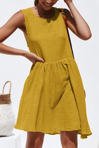 Daily Round Neck Sleeveless Solid Color Skater Dress