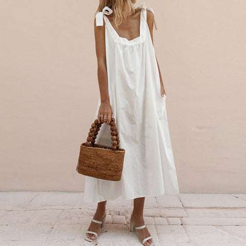 Tight Shoulder Bandwidth Loose Cotton And Linen Dress